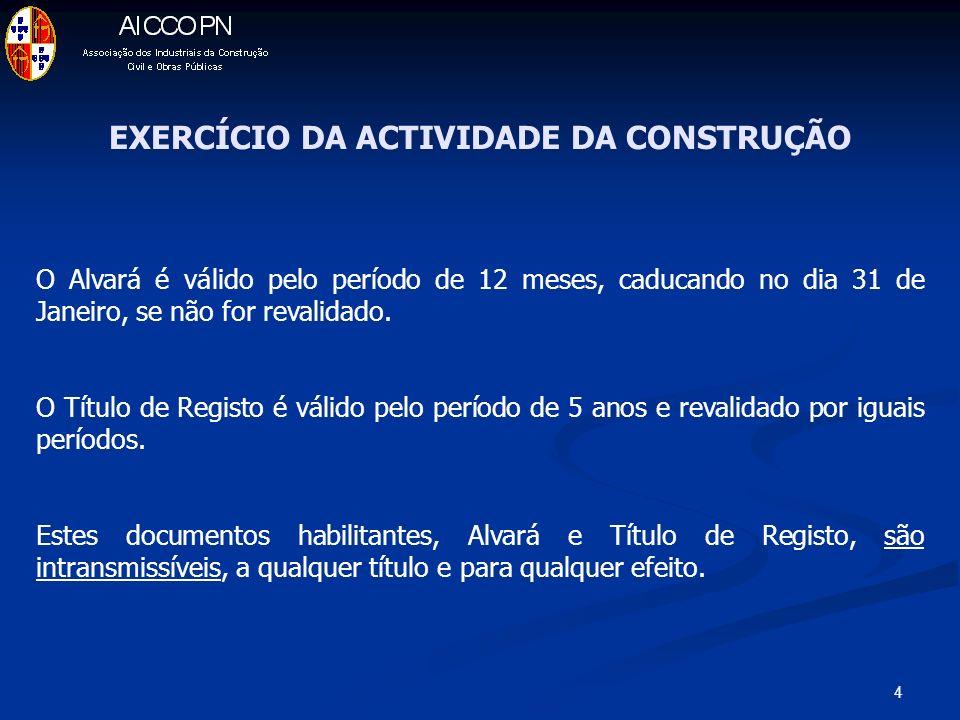 EXERCÍCIO DA ACTIVIDADE DA CONSTRUÇÃO