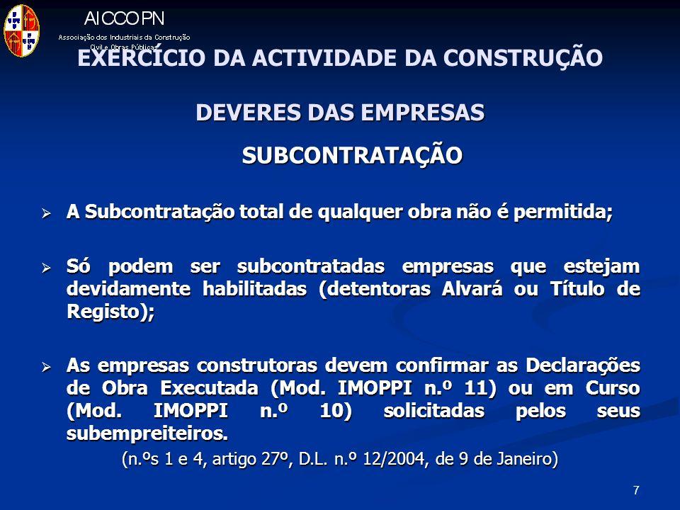 EXERCÍCIO DA ACTIVIDADE DA CONSTRUÇÃO DEVERES DAS EMPRESAS