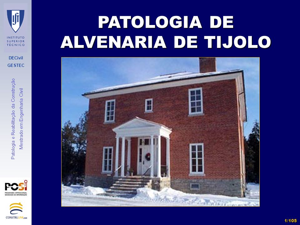 PATOLOGIA DE ALVENARIA DE TIJOLO