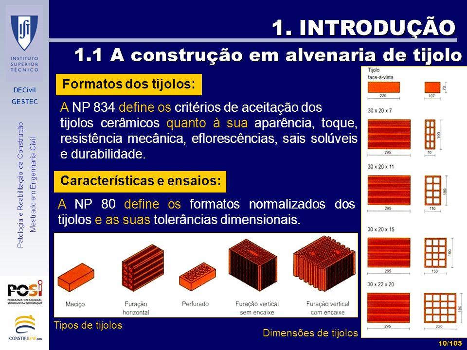 1. INTRODUÇÃO 1.1 A construção em alvenaria de tijolo