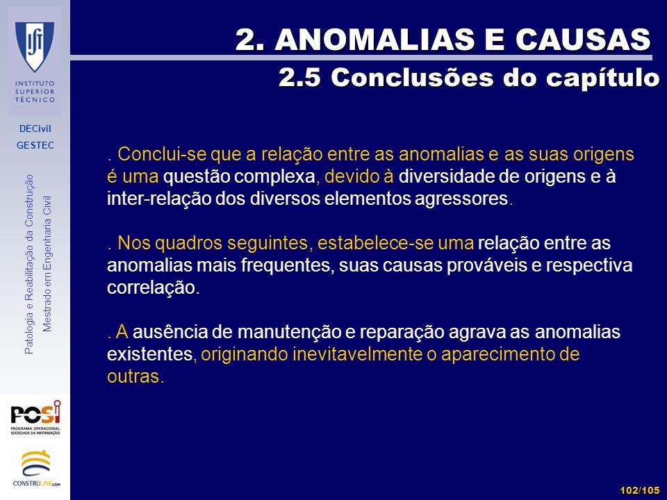 2. ANOMALIAS E CAUSAS 2.5 Conclusões do capítulo