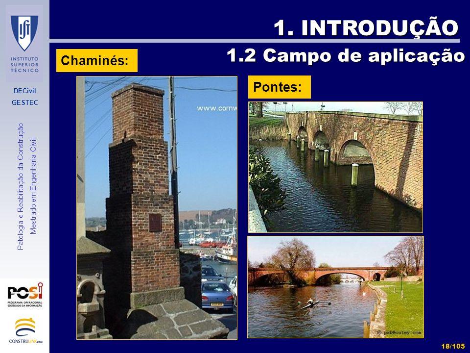 1. INTRODUÇÃO 1.2 Campo de aplicação Chaminés: Pontes: