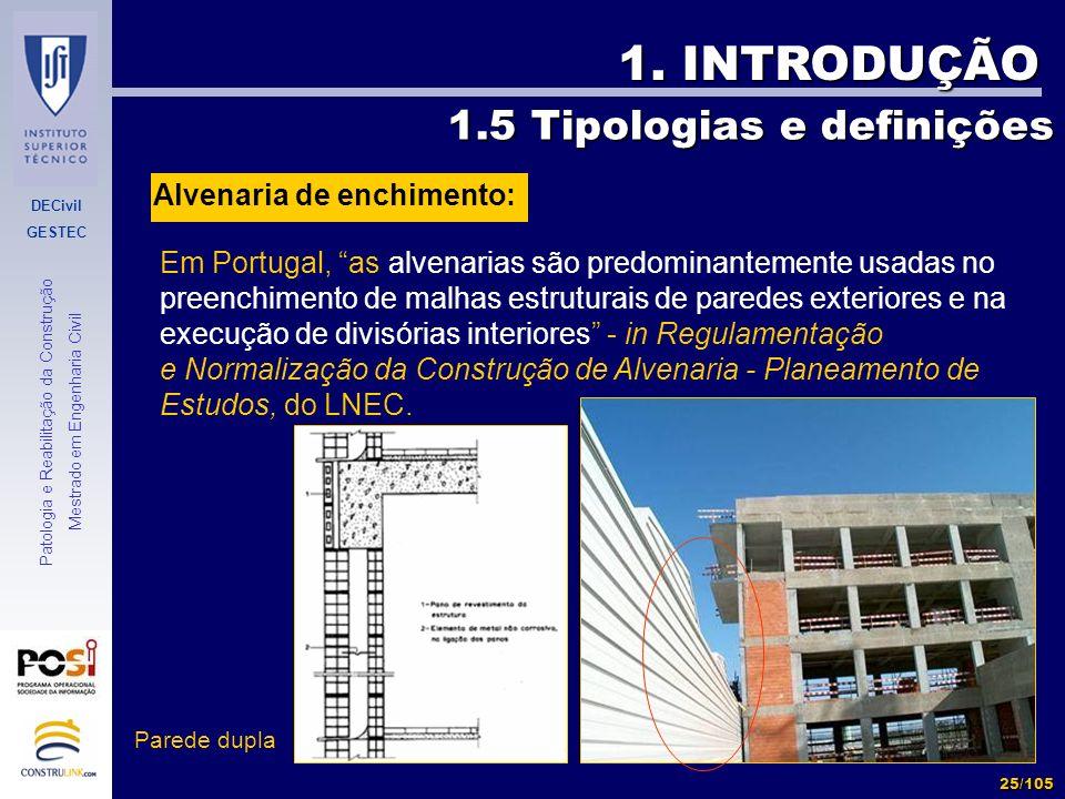 1. INTRODUÇÃO 1.5 Tipologias e definições Alvenaria de enchimento: