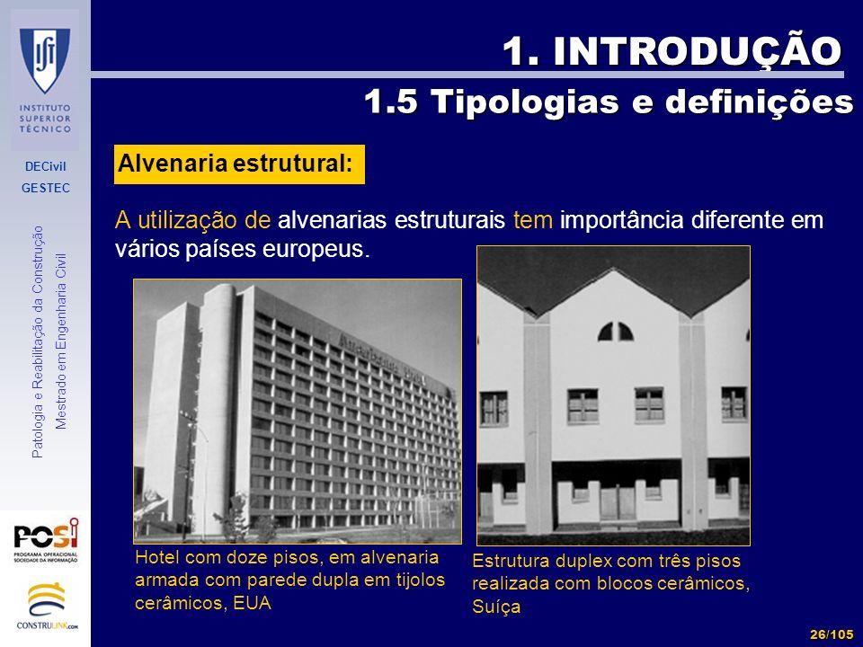 1. INTRODUÇÃO 1.5 Tipologias e definições Alvenaria estrutural: