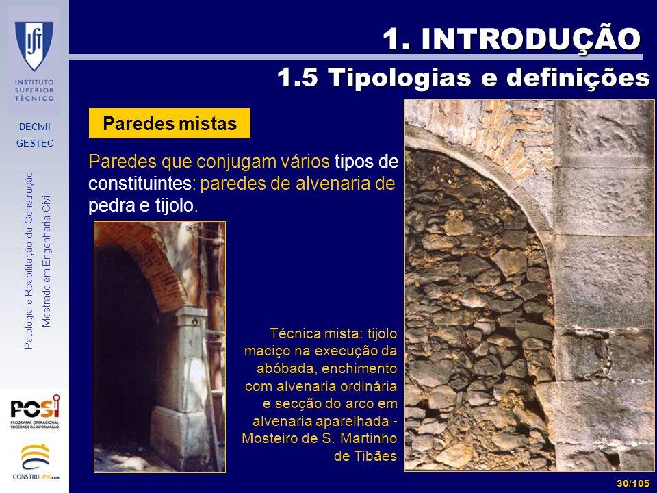 1. INTRODUÇÃO 1.5 Tipologias e definições Paredes mistas
