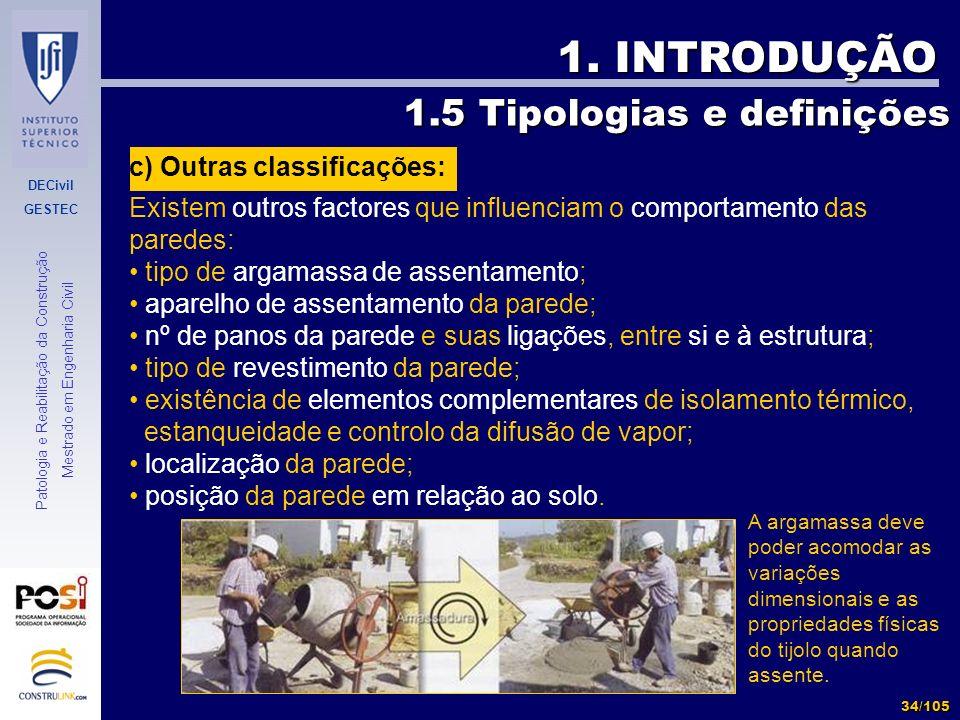 1. INTRODUÇÃO 1.5 Tipologias e definições c) Outras classificações:
