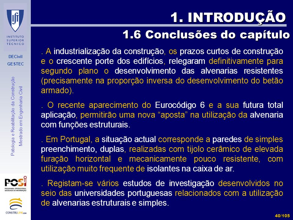 1. INTRODUÇÃO 1.6 Conclusões do capítulo