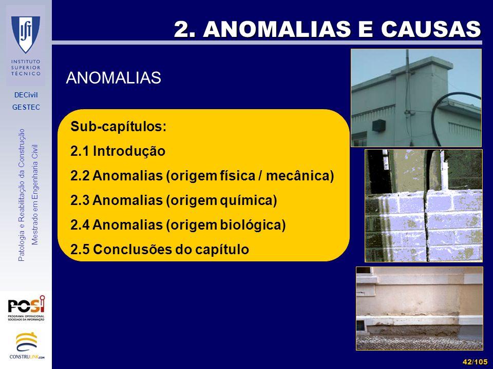2. ANOMALIAS E CAUSAS ANOMALIAS Sub-capítulos: 2.1 Introdução