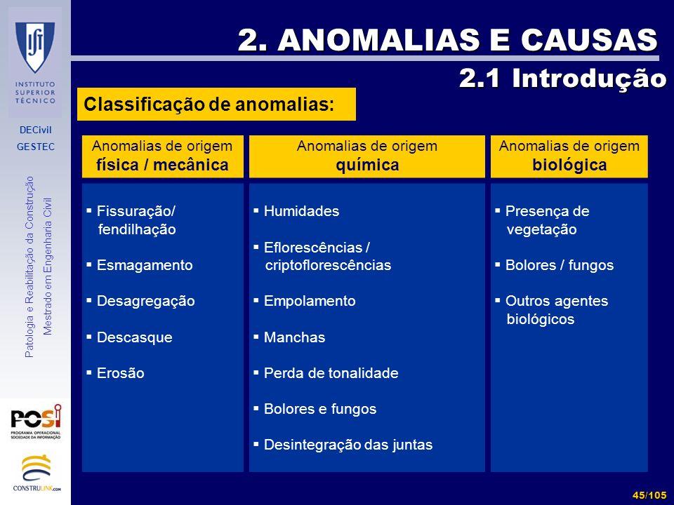 2. ANOMALIAS E CAUSAS 2.1 Introdução Classificação de anomalias:
