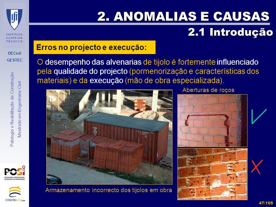 2. ANOMALIAS E CAUSAS 2.1 Introdução Erros no projecto e execução: