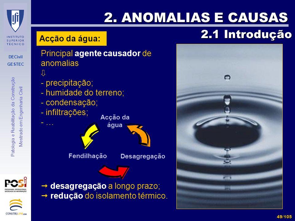 2. ANOMALIAS E CAUSAS 2.1 Introdução Acção da água: