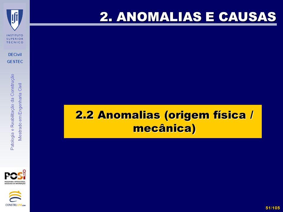 2.2 Anomalias (origem física / mecânica)