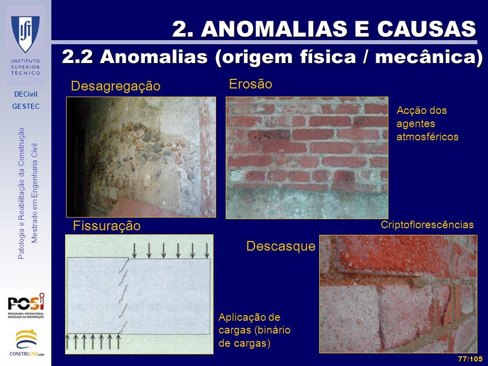 2. ANOMALIAS E CAUSAS 2.2 Anomalias (origem física / mecânica) Erosão