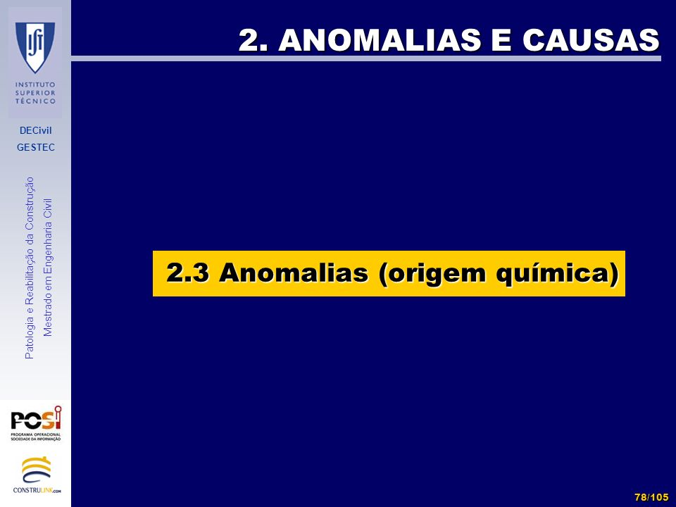 2.3 Anomalias (origem química)