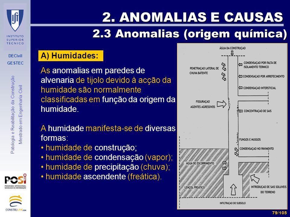 2. ANOMALIAS E CAUSAS 2.3 Anomalias (origem química) A) Humidades: