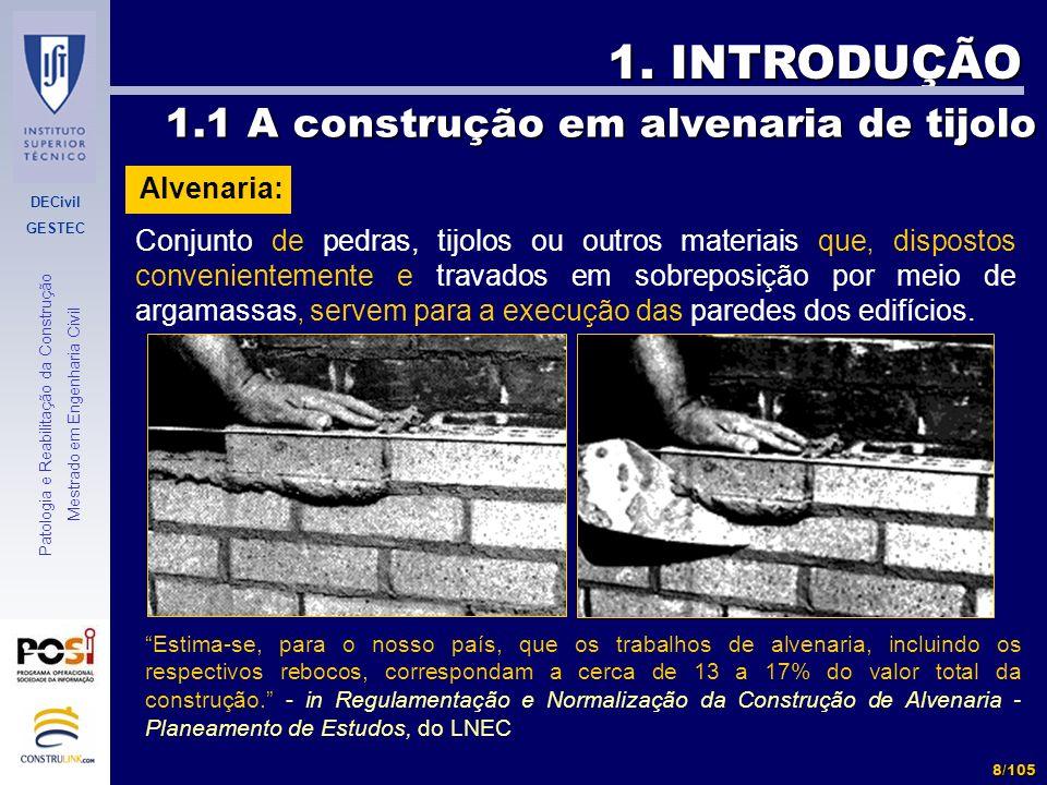 1. INTRODUÇÃO 1.1 A construção em alvenaria de tijolo Alvenaria: