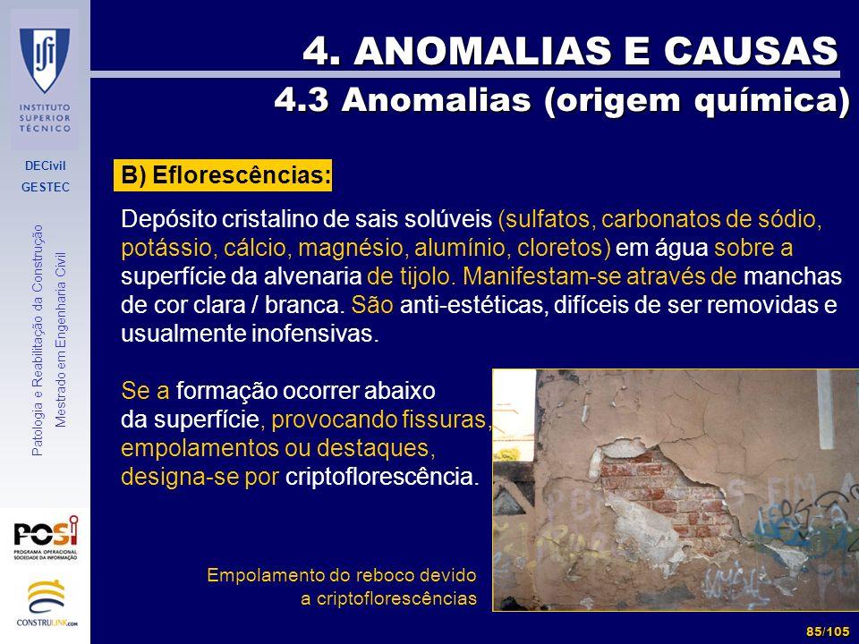 4. ANOMALIAS E CAUSAS 4.3 Anomalias (origem química)