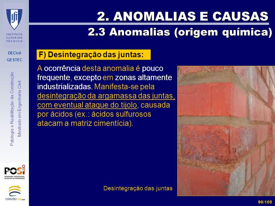 2. ANOMALIAS E CAUSAS 2.3 Anomalias (origem química)