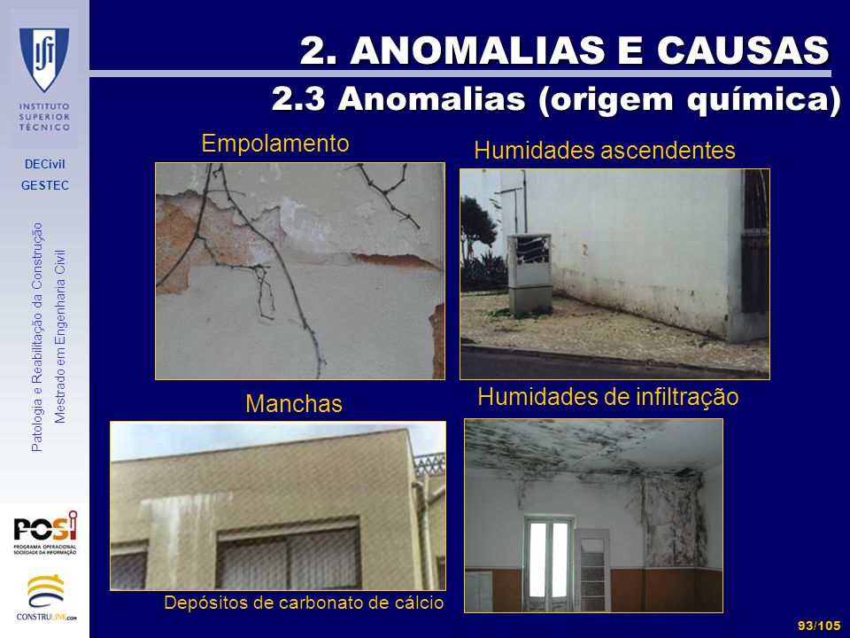 2. ANOMALIAS E CAUSAS 2.3 Anomalias (origem química) Empolamento