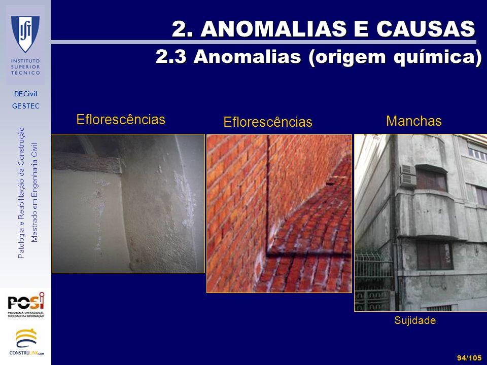 2. ANOMALIAS E CAUSAS 2.3 Anomalias (origem química) Eflorescências