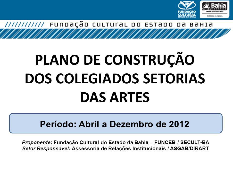PLANO DE CONSTRUÇÃO DOS COLEGIADOS SETORIAS DAS ARTES