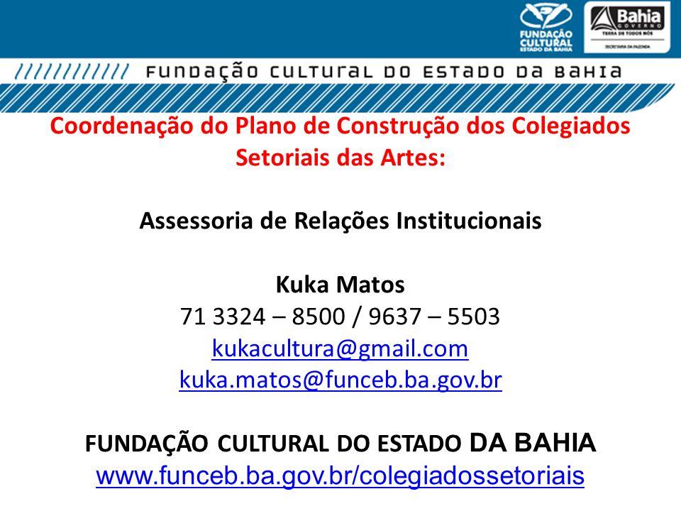 Coordenação do Plano de Construção dos Colegiados Setoriais das Artes: