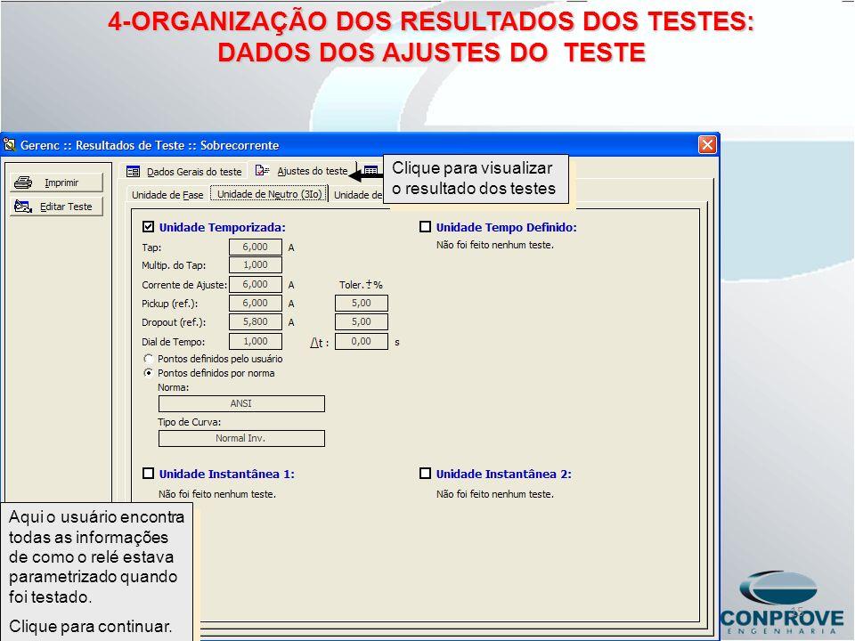 4-ORGANIZAÇÃO DOS RESULTADOS DOS TESTES: DADOS DOS AJUSTES DO TESTE
