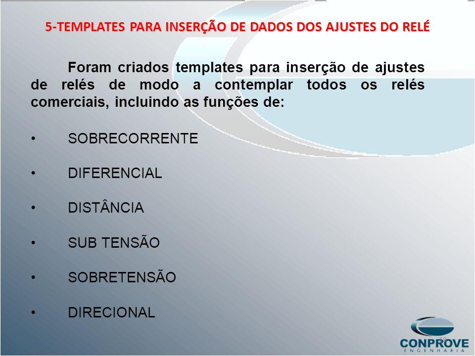 5-TEMPLATES PARA INSERÇÃO DE DADOS DOS AJUSTES DO RELÉ