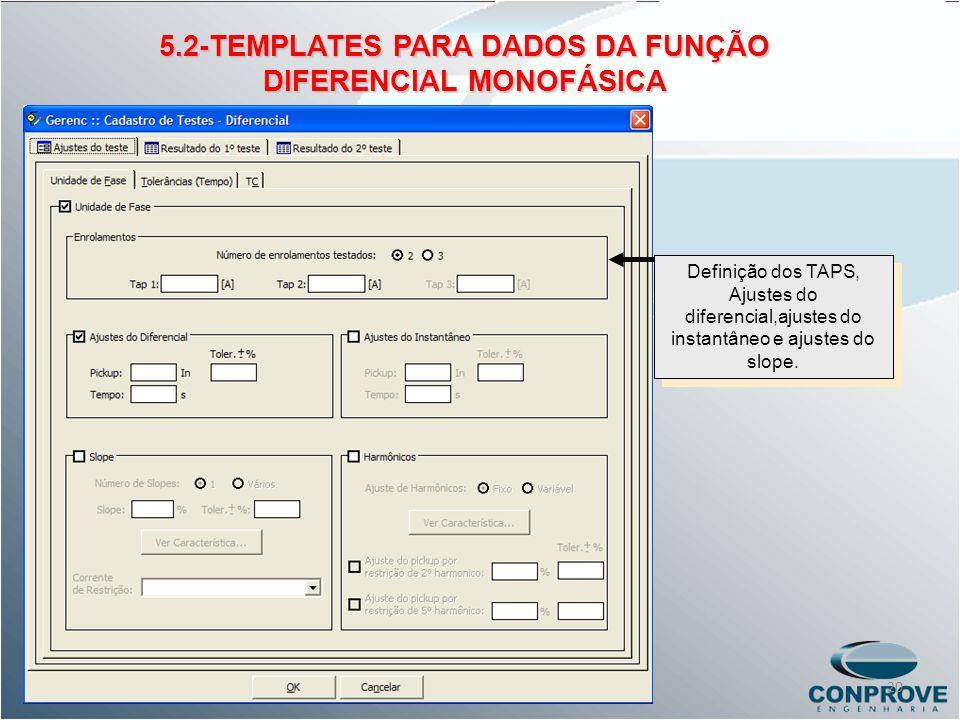 5.2-TEMPLATES PARA DADOS DA FUNÇÃO DIFERENCIAL MONOFÁSICA