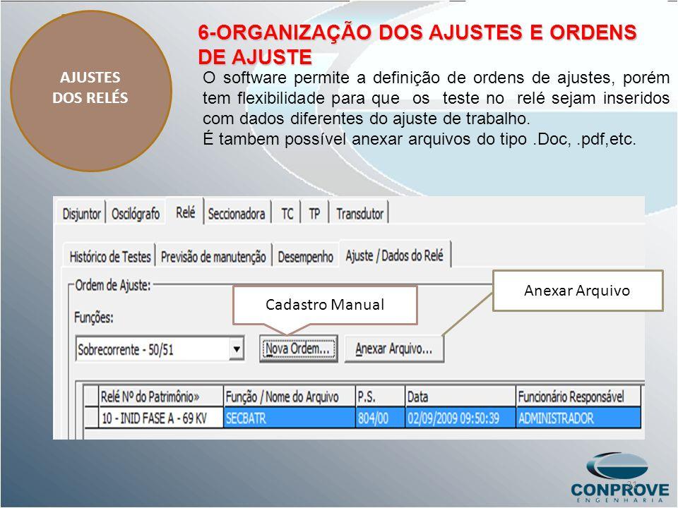 6-ORGANIZAÇÃO DOS AJUSTES E ORDENS DE AJUSTE