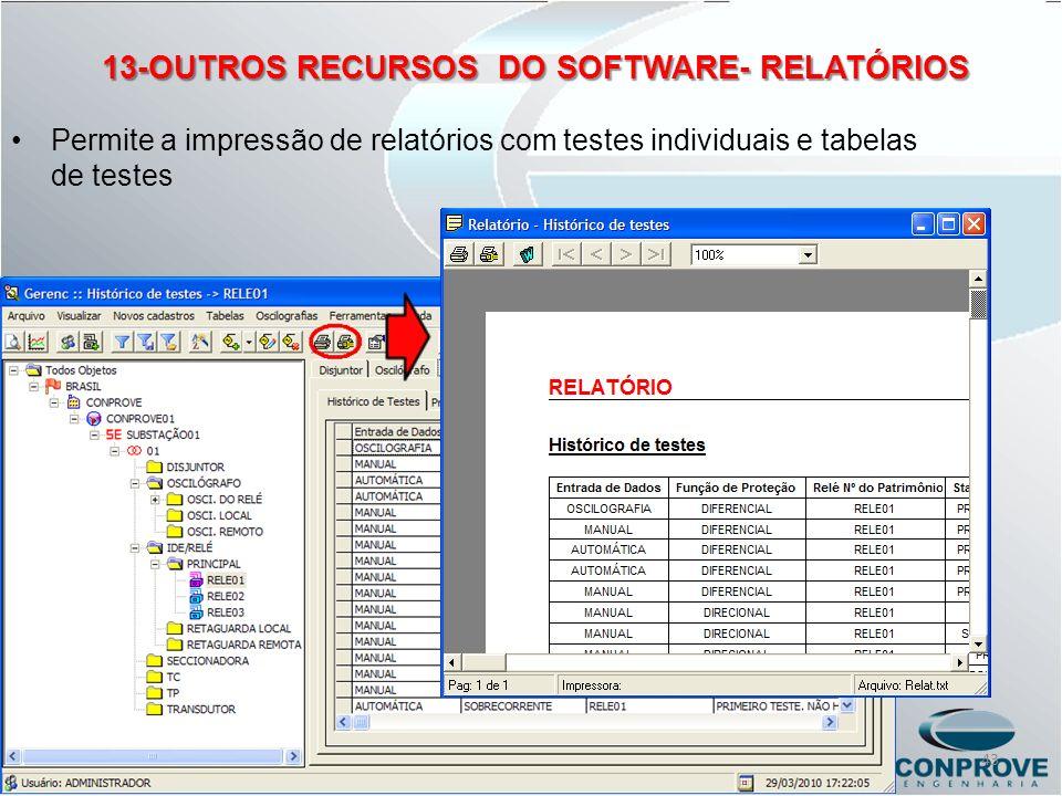 13-OUTROS RECURSOS DO SOFTWARE- RELATÓRIOS