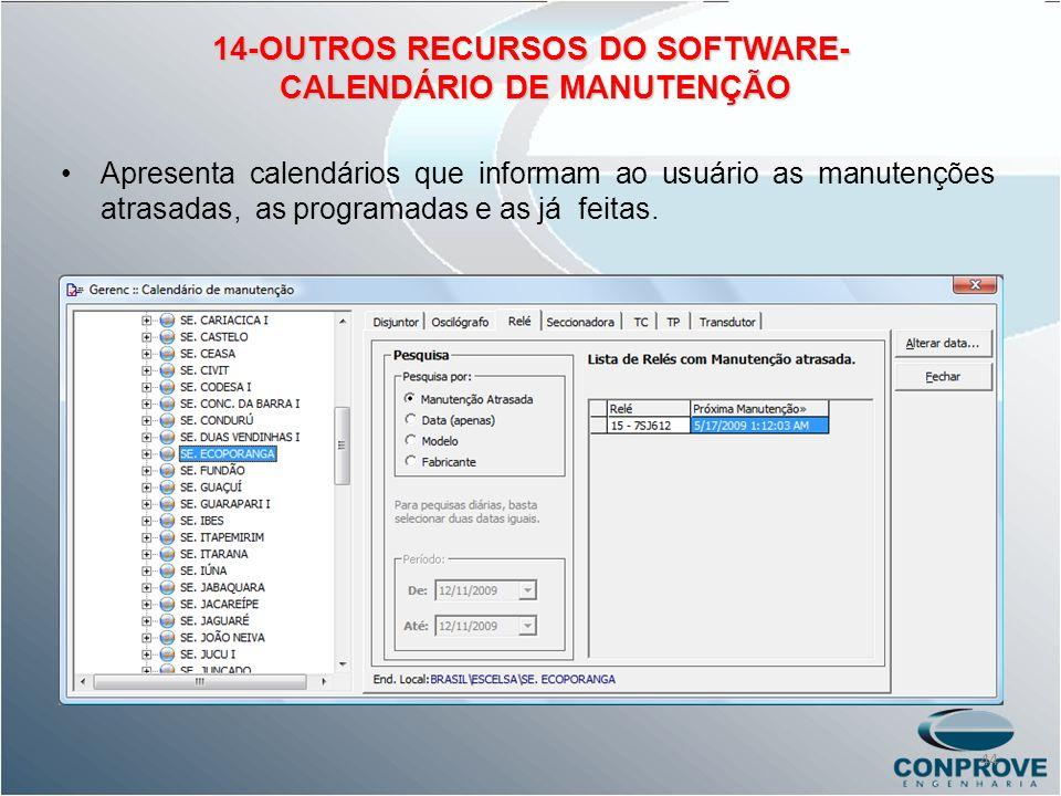 14-OUTROS RECURSOS DO SOFTWARE- CALENDÁRIO DE MANUTENÇÃO