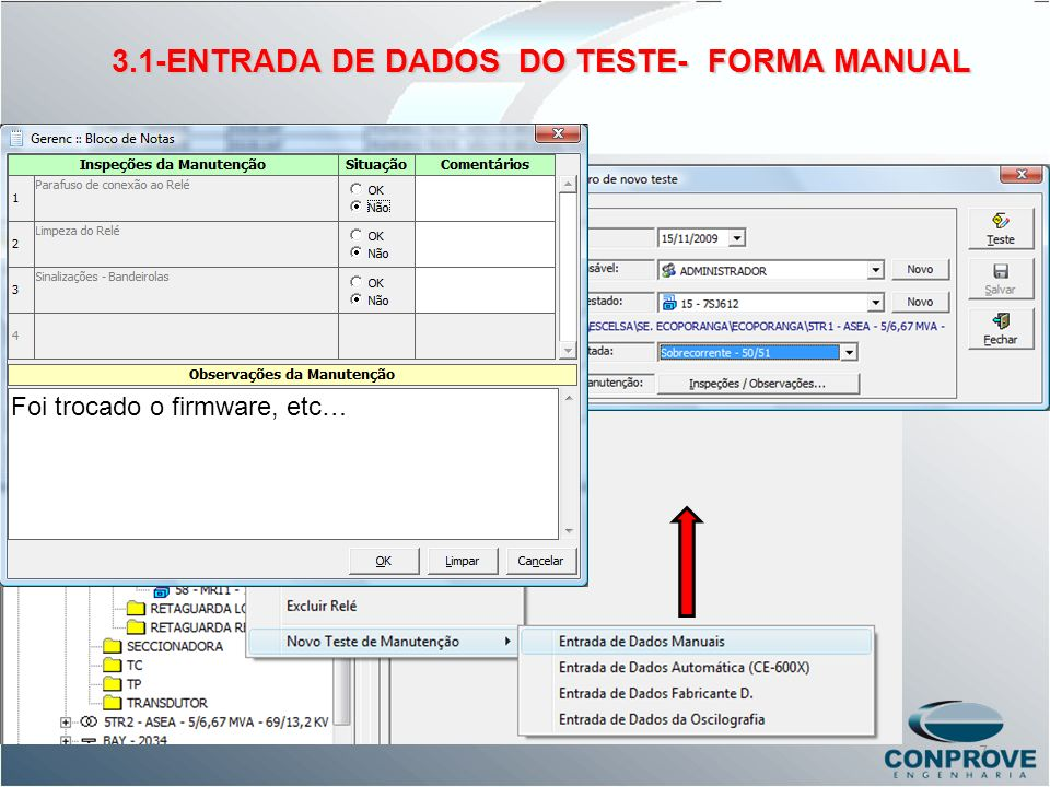 3.1-ENTRADA DE DADOS DO TESTE- FORMA MANUAL