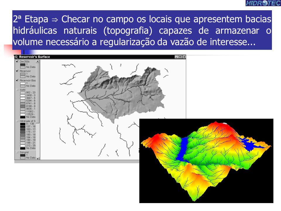 2ª Etapa ⇒ Checar no campo os locais que apresentem bacias hidráulicas naturais (topografia) capazes de armazenar o volume necessário a regularização da vazão de interesse...