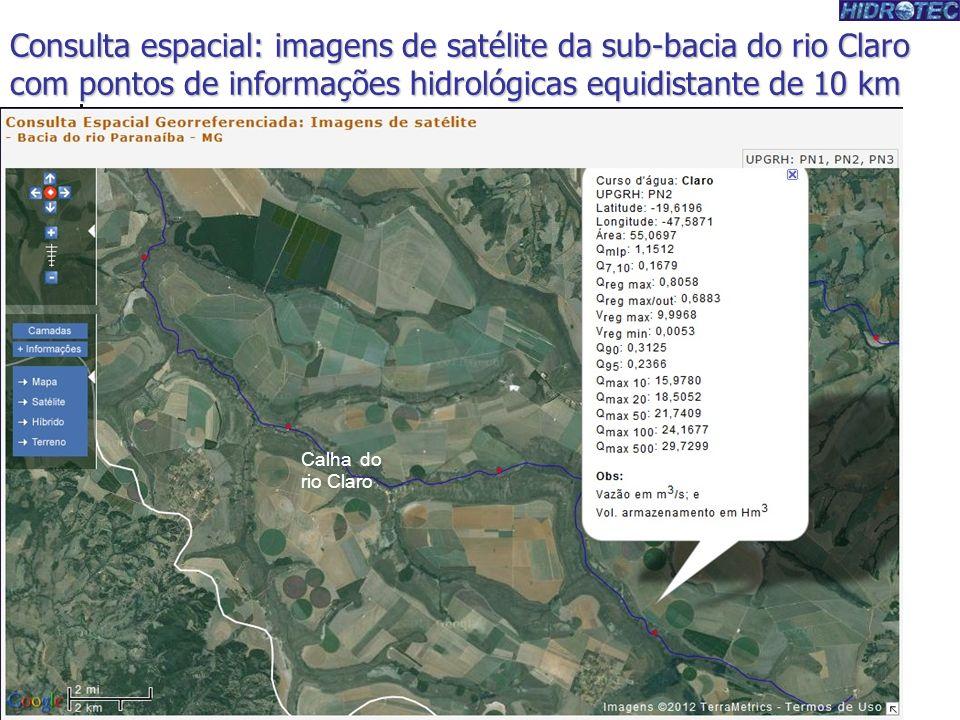 Produtor de Água Consulta espacial: imagens de satélite da sub-bacia do rio Claro com pontos de informações hidrológicas equidistante de 10 km.
