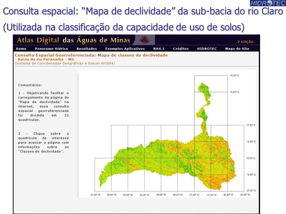 Consulta espacial: Mapa de declividade da sub-bacia do rio Claro