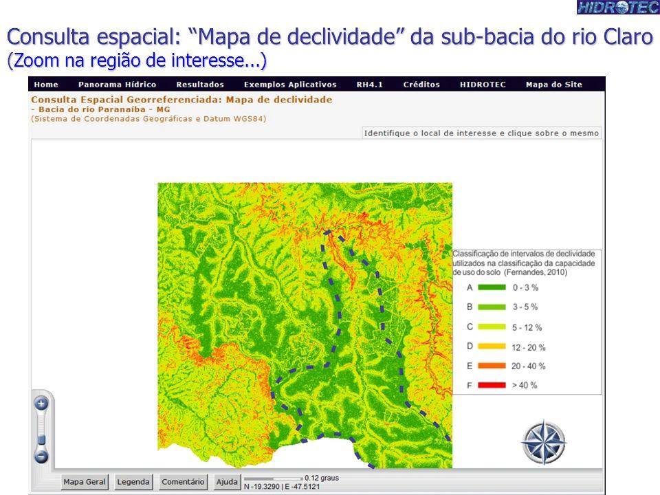 Produtor de Água Consulta espacial: Mapa de declividade da sub-bacia do rio Claro (Zoom na região de interesse...)