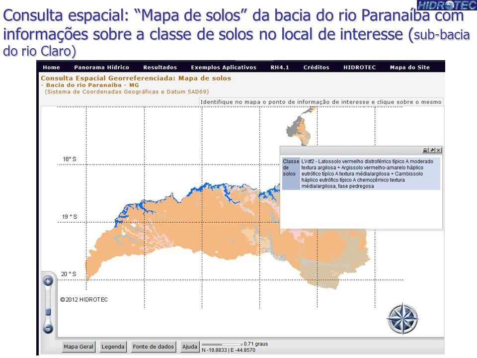 Consulta espacial: Mapa de solos da bacia do rio Paranaíba com informações sobre a classe de solos no local de interesse (sub-bacia do rio Claro)