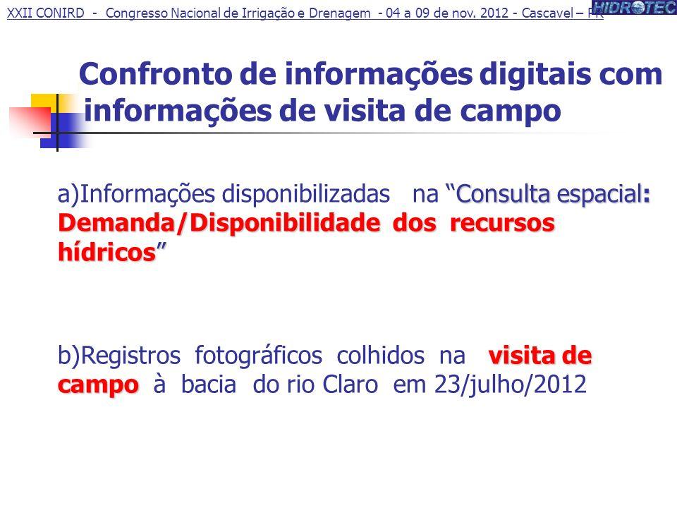 Confronto de informações digitais com informações de visita de campo