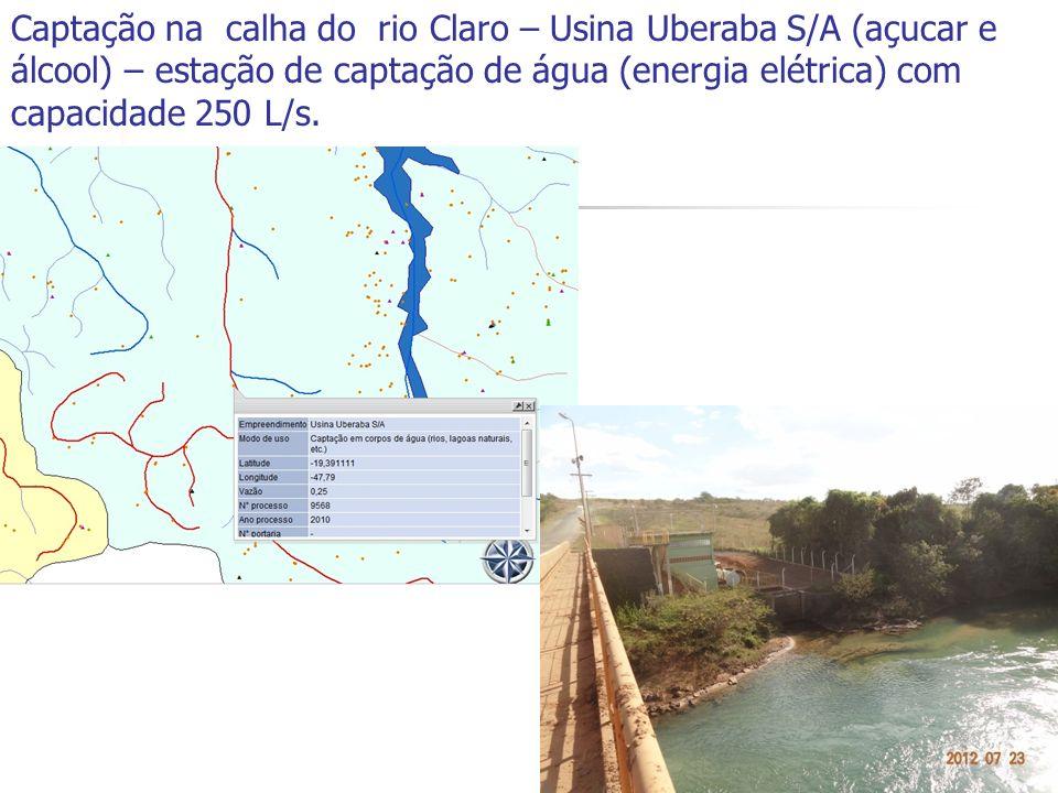 Captação na calha do rio Claro – Usina Uberaba S/A (açucar e álcool) – estação de captação de água (energia elétrica) com capacidade 250 L/s. Status: Processo em análise técnica