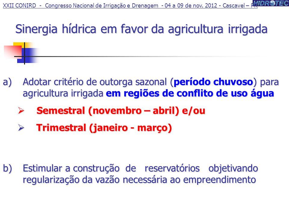 Sinergia hídrica em favor da agricultura irrigada
