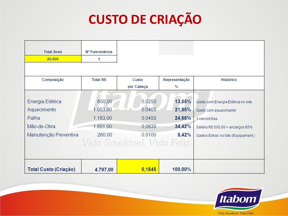 CUSTO DE CRIAÇÃO Energia Elétrica 650,00 0,0250 13,55% Aquecimento