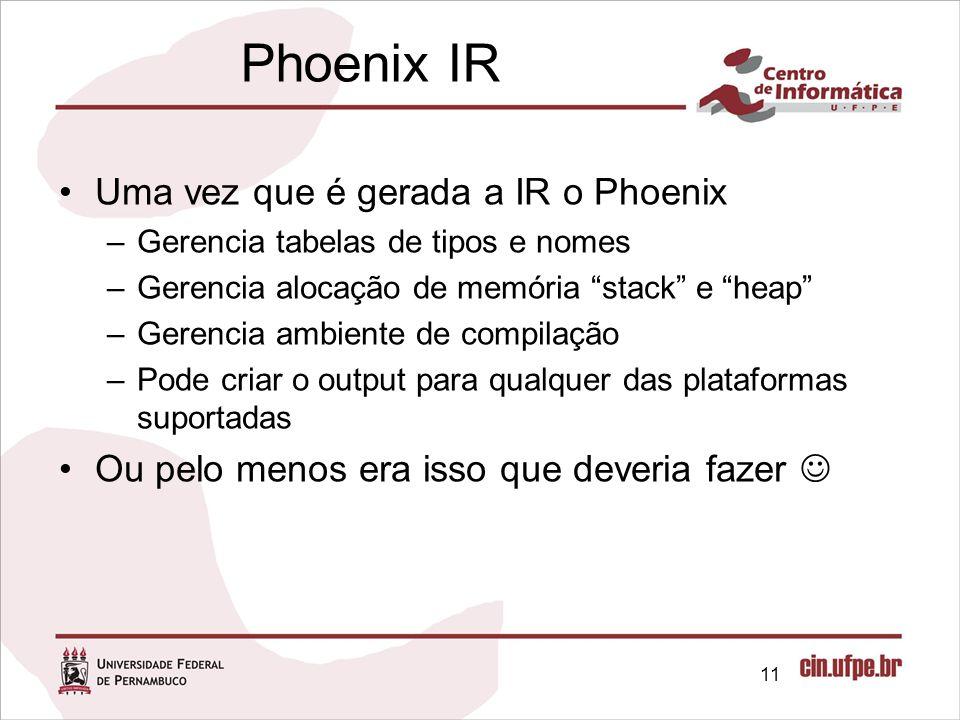 Phoenix IR Uma vez que é gerada a IR o Phoenix