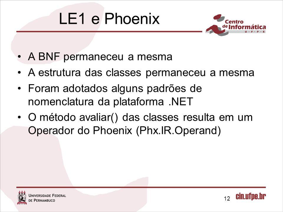 LE1 e Phoenix A BNF permaneceu a mesma