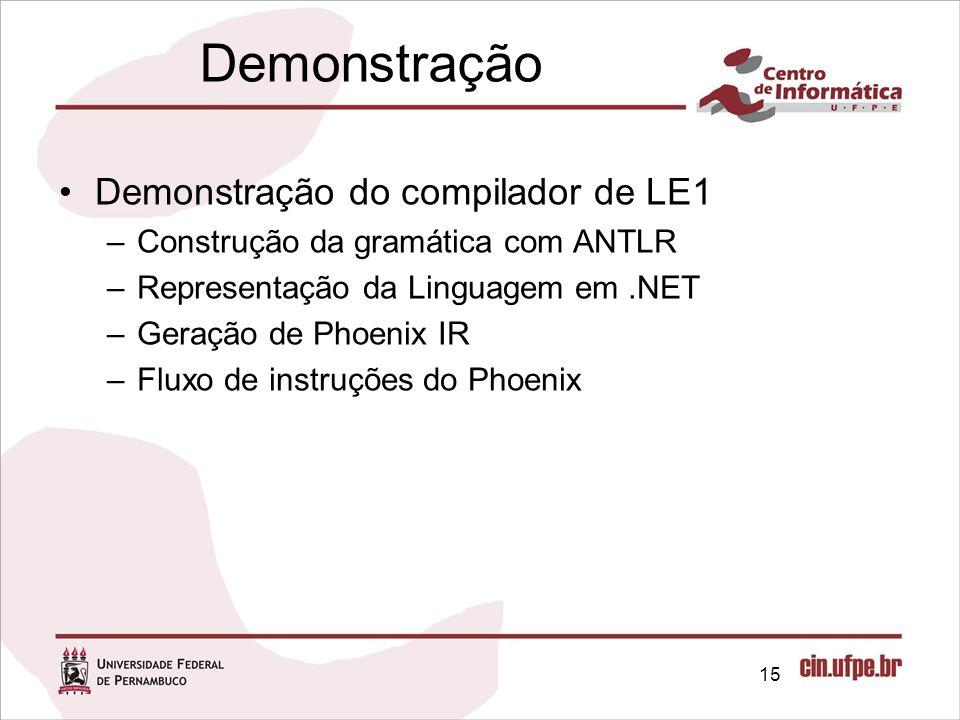 Demonstração Demonstração do compilador de LE1
