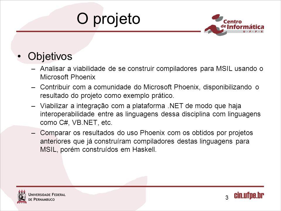 O projeto Objetivos. Analisar a viabilidade de se construir compiladores para MSIL usando o Microsoft Phoenix.
