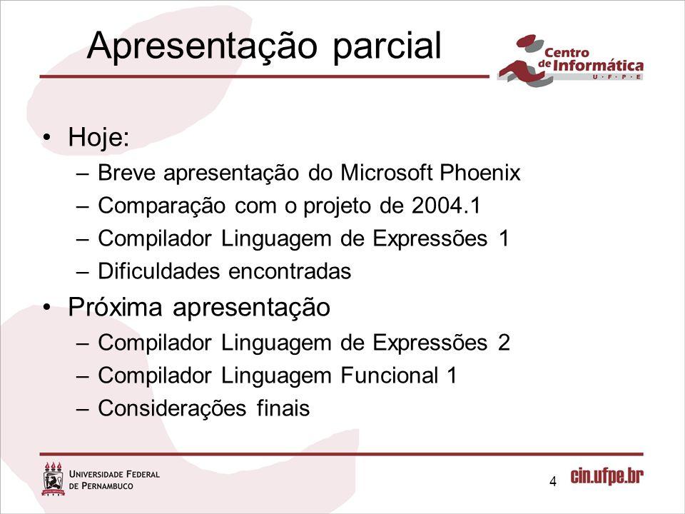 Apresentação parcial Hoje: Próxima apresentação