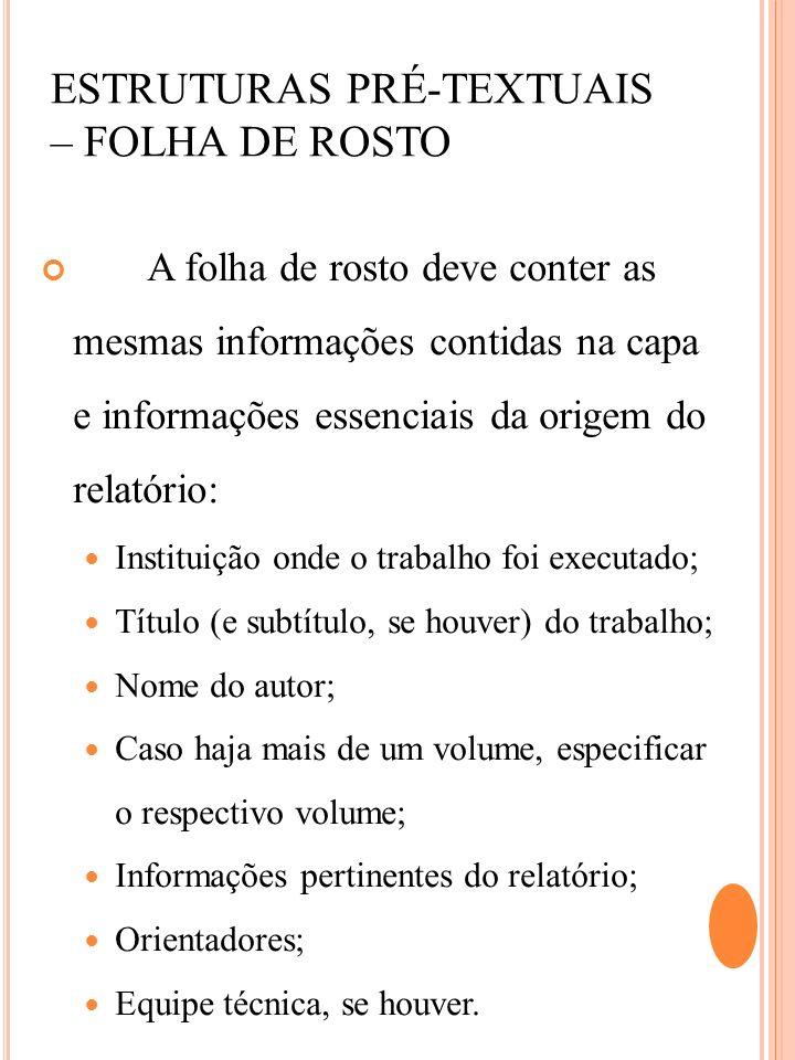 ESTRUTURAS PRÉ-TEXTUAIS – FOLHA DE ROSTO