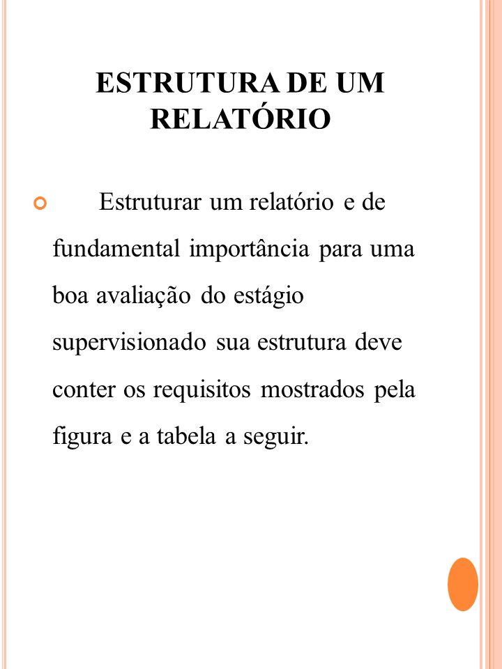 ESTRUTURA DE UM RELATÓRIO