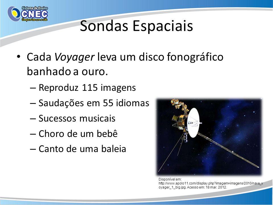 Sondas Espaciais Cada Voyager leva um disco fonográfico banhado a ouro. Reproduz 115 imagens. Saudações em 55 idiomas.